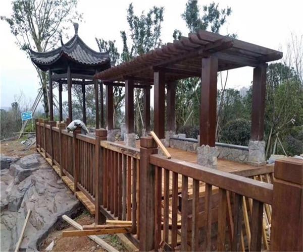 重庆北碚水土防腐木廊架 防腐木凉亭